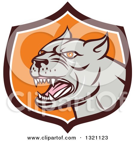 Clipart of a Cartoon Barking Brown Pitbull Guard Dog Head in a Brown White and Orange Shield - Royalty Free Vector Illustration by patrimonio