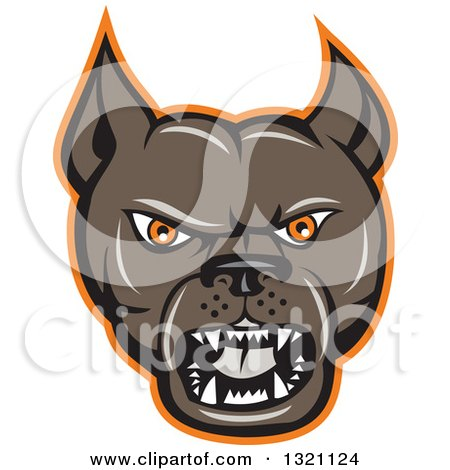 Clipart of a Cartoon Barking Brown Pitbull Guard Dog Head with an Orange Outline - Royalty Free Vector Illustration by patrimonio