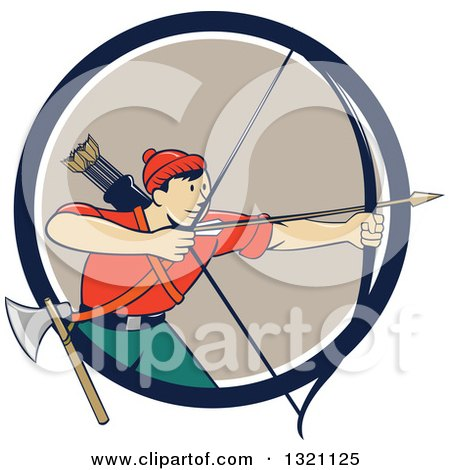 Clipart of a Retro Cartoon Male Archer Aiming an Arrow and Emerging from a Navy Blue White and Tan Circle - Royalty Free Vector Illustration by patrimonio