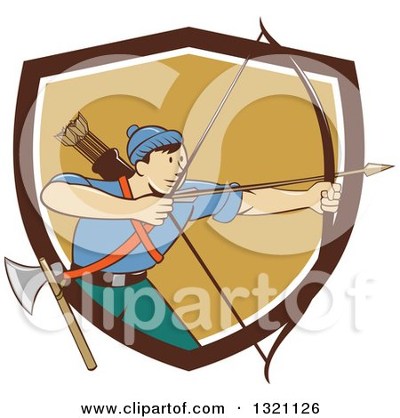 Retro Cartoon Male Archer Aiming an Arrow and Emerging from a Brown White and Tan Shield Posters, Art Prints