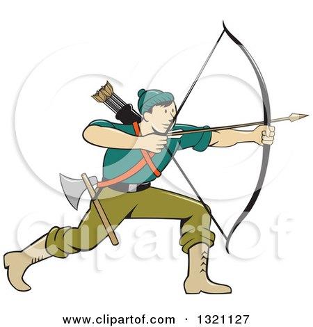 Clipart of a Retro Cartoon Male Archer Aiming an Arrow - Royalty Free Vector Illustration by patrimonio
