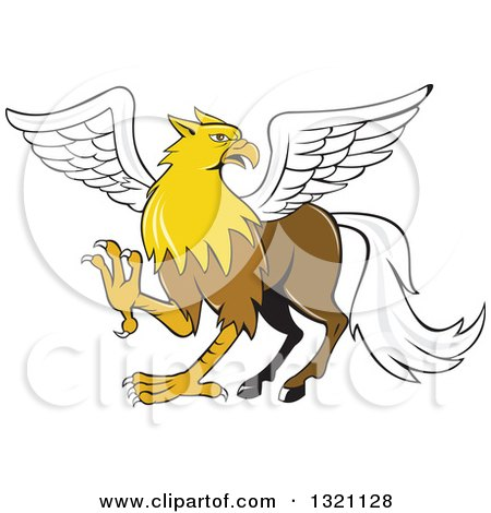 Clipart of a Cartoon Hippogriff Mythical Creature - Royalty Free Vector Illustration by patrimonio