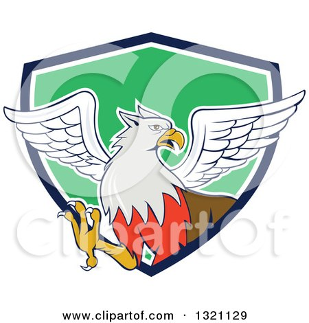 Clipart of a Cartoon Hippogriff Mythical Creature Emerging from a Navy Blue White and Green Shield - Royalty Free Vector Illustration by patrimonio