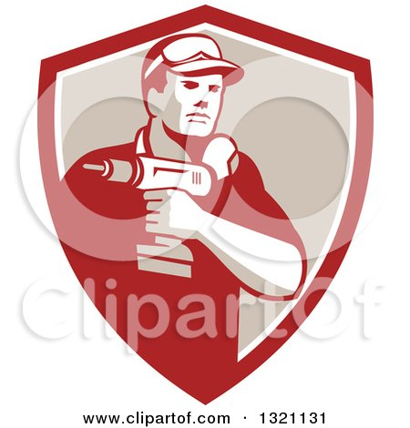Retro Male Handy Man Holding a Power Drill in a Red White and Tan Shield Posters, Art Prints