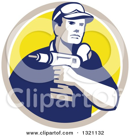Retro Male Handy Man Holding a Power Drill in a Tan White and Yellow Circle Posters, Art Prints