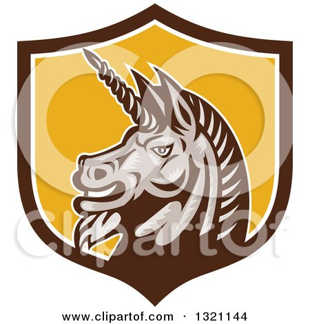 Clipart of a Retro Woodcut Angry Gray Unicorn Head in a Brown White and Yellow Shield - Royalty Free Vector Illustration by patrimonio