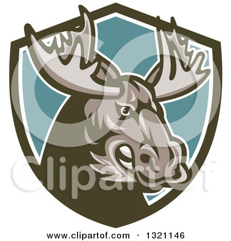 Clipart of a Retro Snarling Tough Moose in a Green White and Turquoise Shield - Royalty Free Vector Illustration by patrimonio