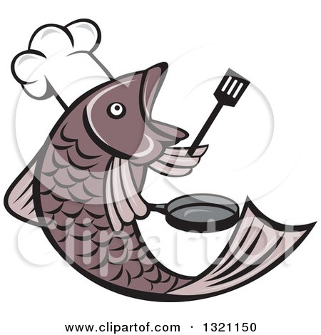Cartoon Fish Chef Holding a Spatula and Frying Pan Posters, Art Prints