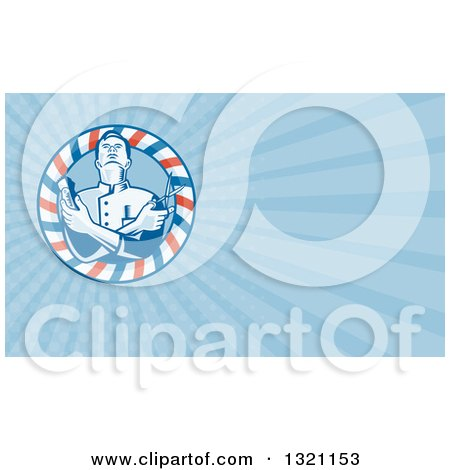 Clipart of a Retro Woodcut Barber with Crossed Arms, Holding Clippers and Scissors in a Pole Frame and Blue Rays Background or Business Card Design - Royalty Free Illustration by patrimonio