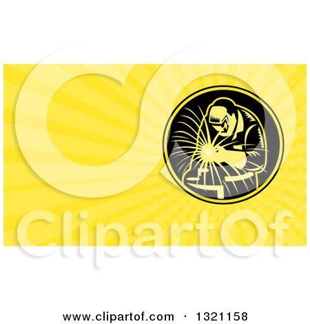 Clipart of a Retro Welder Working and Yellow Rays Background or Business Card Design - Royalty Free Illustration by patrimonio