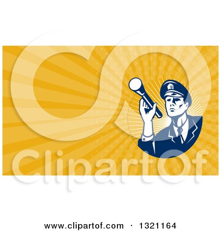 Clipart of a Retro Police Officer or Guard Shining a Flashlight and Orange Rays Background or Business Card Design - Royalty Free Illustration by patrimonio
