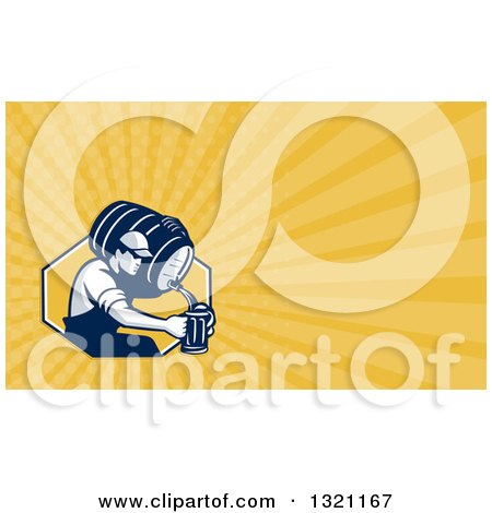 Clipart of a Retro Male Bartender Pouring Beer from a Keg in to a Pitcher and Yellow Rays Background or Business Card Design - Royalty Free Illustration by patrimonio