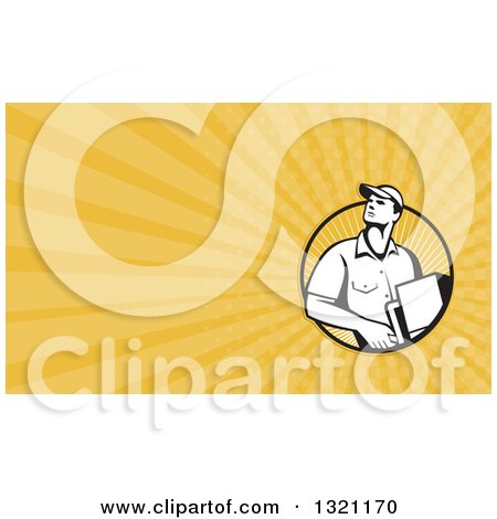 Clipart of a Retro Male Delivery Man and Yellow Rays Background or Business Card Design - Royalty Free Illustration by patrimonio