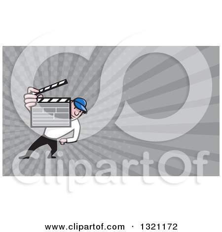 Clipart of a Cartoon Director Holding up a Clapper Board and Gray Rays Background or Business Card Design - Royalty Free Illustration by patrimonio