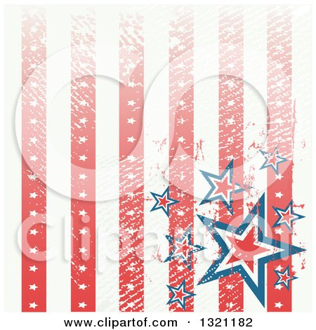 Clipart of a Distressed Grungy American Background with Vertical Stripes and Stars - Royalty Free Vector Illustration by Pushkin