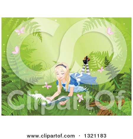 Clipart of Alice in Wonderland Reading a Book on the Forest Floor, with Ferns and Butterflies - Royalty Free Vector Illustration by Pushkin