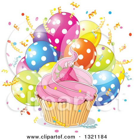 Strawberry Cupcake with a White Ouline over Confetti and Polka Dot Balloons Posters, Art Prints