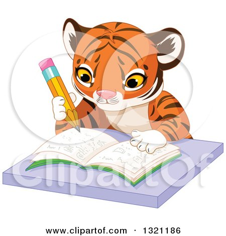 Clipart of a Cute Baby Tiger Cub Writing in a Notebook at a Desk - Royalty Free Vector Illustration by Pushkin