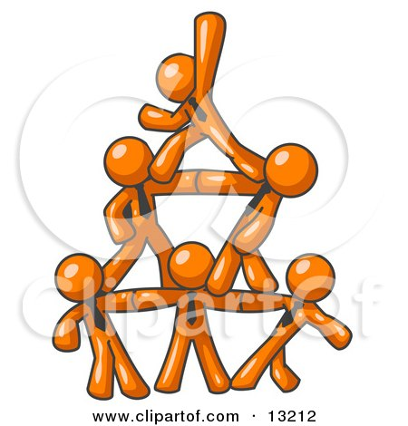 Group of Orange Businessmen Piling up to Form a Pyramid Posters, Art Prints