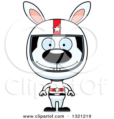 Clipart of a Cartoon Happy Rabbit Race Car Driver - Royalty Free Vector Illustration by Cory Thoman
