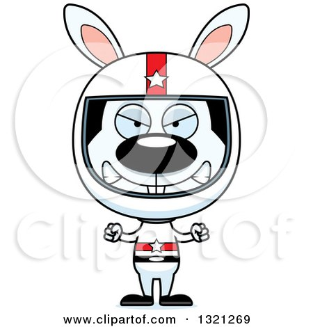 Clipart of a Cartoon Mad Rabbit Race Car Driver - Royalty Free Vector Illustration by Cory Thoman
