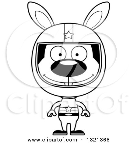 Lineart Clipart of a Cartoon Black and White Happy Rabbit Race Car Driver - Royalty Free Outline Vector Illustration by Cory Thoman