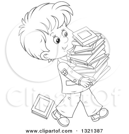 Lineart Clipart of a Cartoon Black and White School Boy in a Uniform, Walking with a Stack of Toppling Books - Royalty Free Outline Vector Illustration by Alex Bannykh
