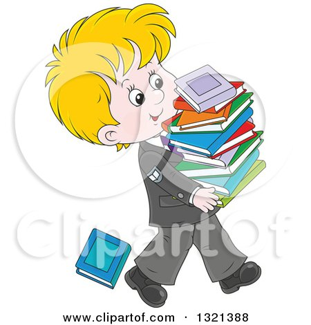 Clipart of a Cartoon Blond White School Boy in a Uniform, Walking with a Stack of Toppling Books - Royalty Free Vector Illustration by Alex Bannykh