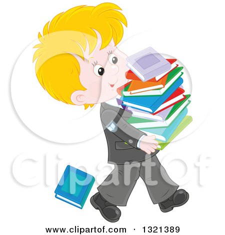 Clipart of a Cartoon Blond Caucasian School Boy in a Uniform, Walking with a Stack of Toppling Books - Royalty Free Vector Illustration by Alex Bannykh