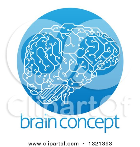 Clipart of a Circuit Board Artificial Intelligence Computer Chip Brain in a Gradient Blue Circle over Sample Text - Royalty Free Vector Illustration by AtStockIllustration