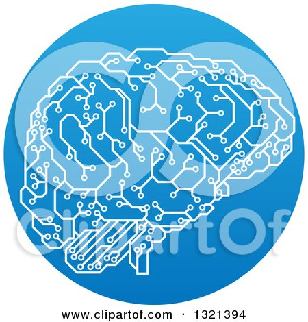 Clipart of a Circuit Board Artificial Intelligence Computer Chip Brain in a Gradient Blue Circle - Royalty Free Vector Illustration by AtStockIllustration