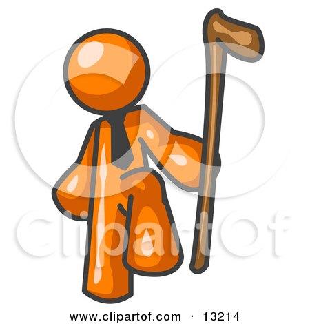 Orange Man Holding a Cane Clipart Illustration by Leo Blanchette