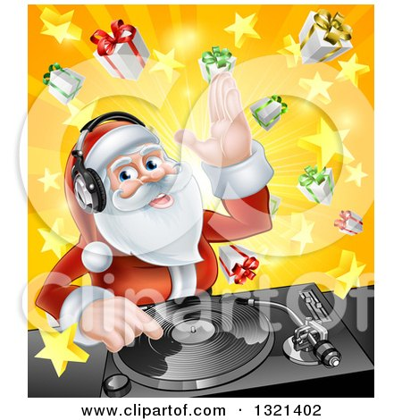 Clipart of a Happy Santa Claus Dj Wearing Headphones and Mixing Christmas Music on a Turntable over a Starburst and Gifts - Royalty Free Vector Illustration by AtStockIllustration