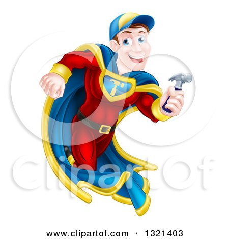 Happy Brunette Caucasian Carpenter Worker Man Super Hero Running with a Hammer Posters, Art Prints
