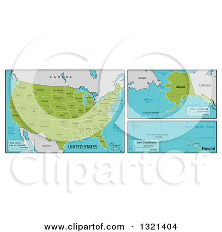 Clipart of Maps of Continental, Hawaiian and Alaskan American Territories and Big Cities - Royalty Free Vector Illustration by AtStockIllustration