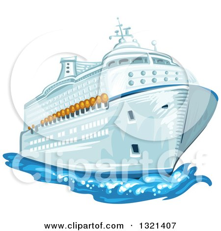 Clipart of a Cruise Ship and Water - Royalty Free Vector Illustration by merlinul