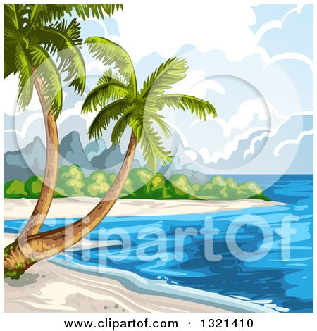 Clipart of a Tropical Beach with Palm Trees - Royalty Free Vector Illustration by merlinul