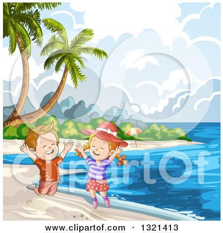 Clipart of Happy Children Jumping on a Tropical Beach with Palm Trees - Royalty Free Vector Illustration by merlinul