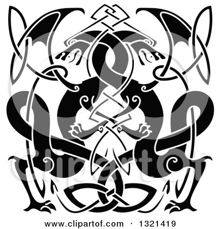 Clipart of Black Celtic Knot Dragons 3 - Royalty Free Vector Illustration by ...