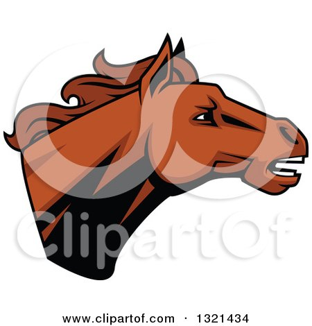 Clipart of a Brown Tough Stallion Horse Head - Royalty Free Vector Illustration by Vector Tradition SM