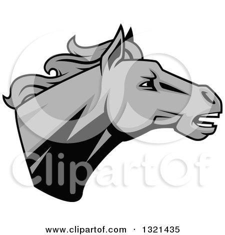 Clipart of a Grayscale Tough Stallion Horse Head - Royalty Free Vector Illustration by Vector Tradition SM