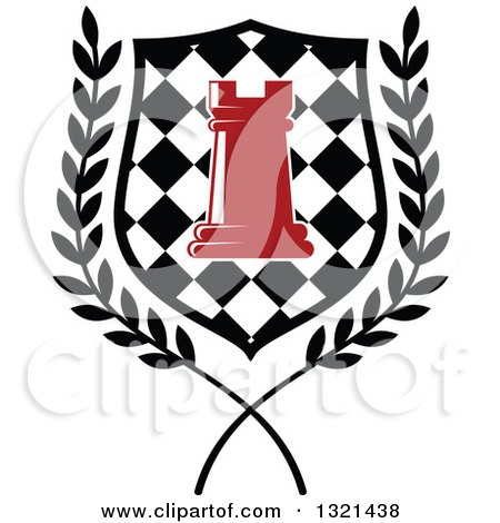 Clipart of a Red Chess Rook Piece in a Checkered Shield and Wreath - Royalty Free Vector Illustration by Vector Tradition SM