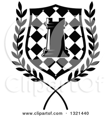 Clipart of a Black and White Chess Rook Piece in a Checkered Shield and Wreath - Royalty Free Vector Illustration by Vector Tradition SM