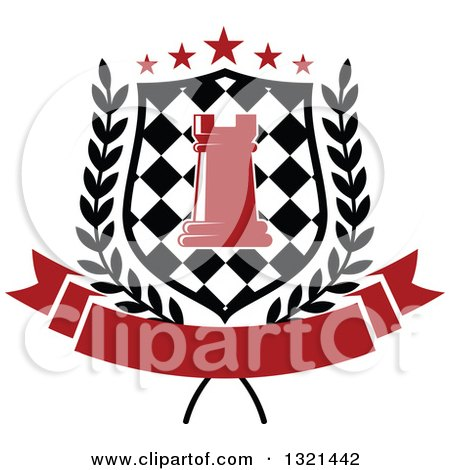 Clipart of a Red Chess Rook Piece in a Checkered Shield, with Stars and a Wreath over a Blank Red Banner - Royalty Free Vector Illustration by Vector Tradition SM
