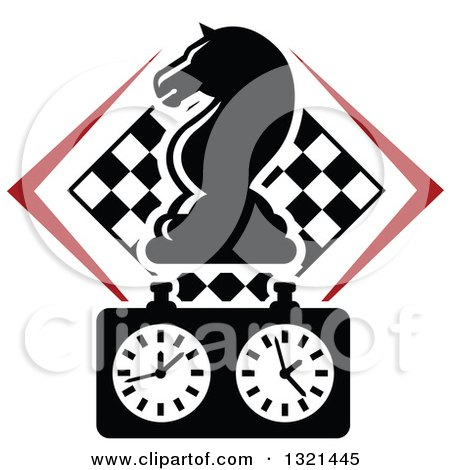 Clipart of a Chess Knight Horse Head Piece over a Timer and Checker Board - Royalty Free Vector Illustration by Vector Tradition SM