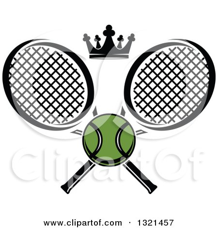 Clipart of a Green Tennis Ball and Crown with Crossed Rackets - Royalty Free Vector Illustration by Vector Tradition SM