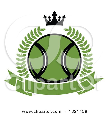 Clipart of a Green Tennis Ball in a Wreath over a Blank Banner with a Crown - Royalty Free Vector Illustration by Vector Tradition SM