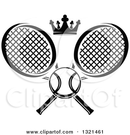Clipart of a Black and White Tennis Ball and Crown with Crossed Rackets - Royalty Free Vector Illustration by Vector Tradition SM