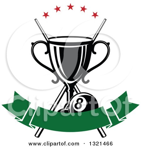 Clipart of a Championship Trophy with Crossed Cue Sticks, Stars and an Eight Ball over a Blank Green Banner - Royalty Free Vector Illustration by Vector Tradition SM