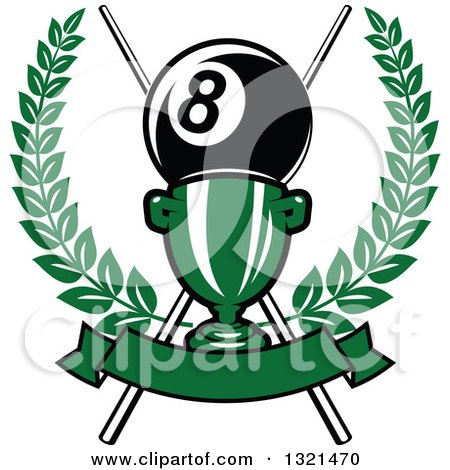 Clipart of a Championship Trophy with Crossed Cue Sticks and a Giant Eight Ball in a Wreath over a Blank Banner - Royalty Free Vector Illustration by Vector Tradition SM